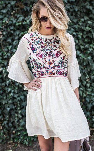 white embroidered dress linen