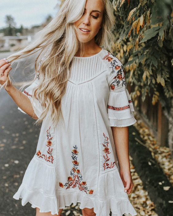 white embroidery dress one line