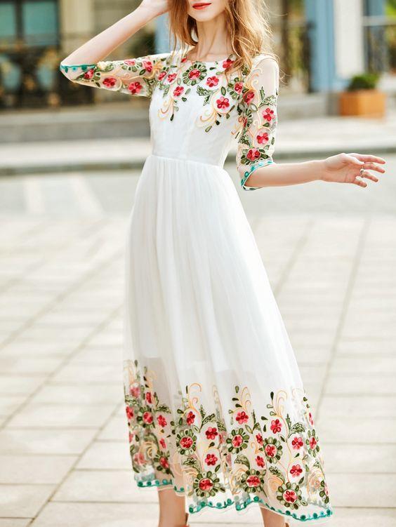 white embroidered dress elegant