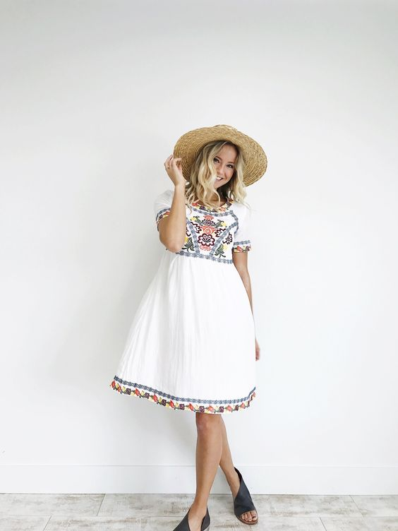 white embroidered dress summer