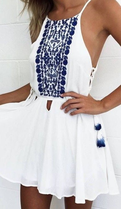 white embroidered dress blue