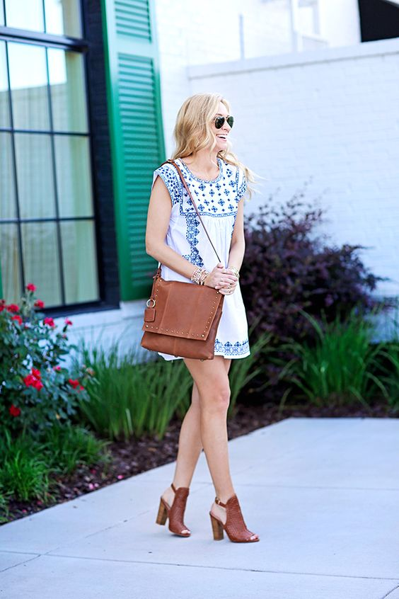 white embroidered dress blue-brown