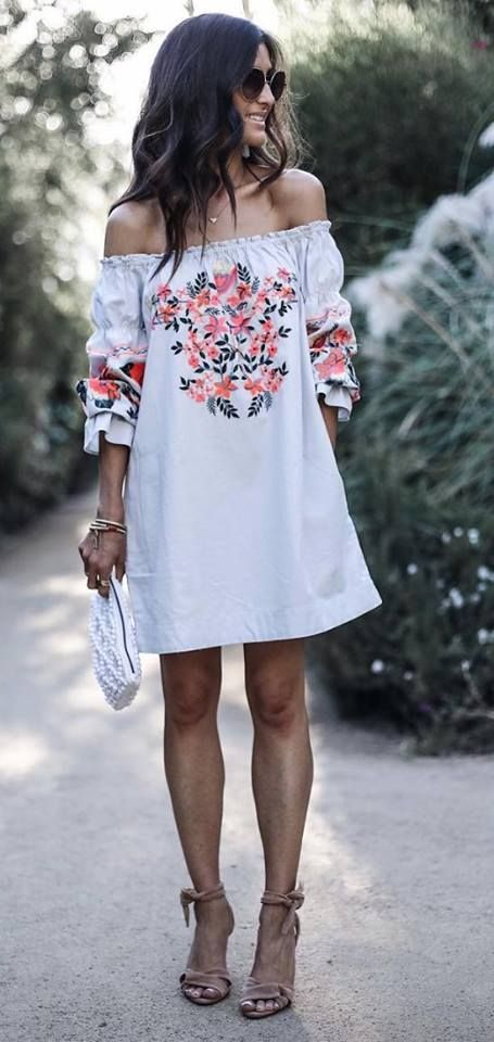 white embroidered dress off the shoulder