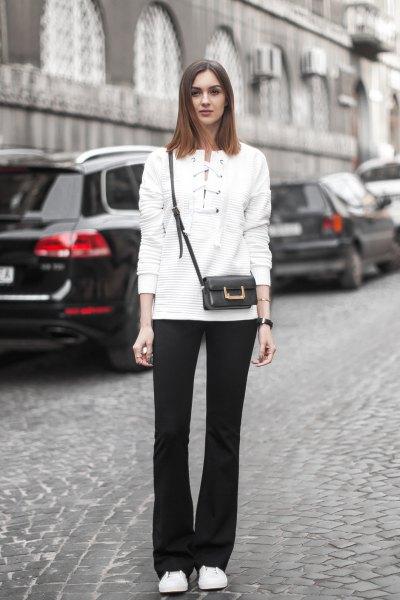 white lace sweater black blown pants