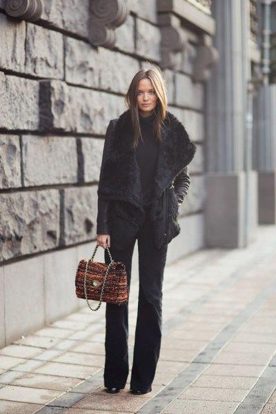 black faux fur collar trench coat blown pants