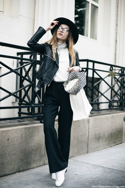 black flared trousers white leather jacket in top with lids