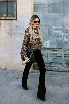 silver sequin long sleeve sweater black flared pants
