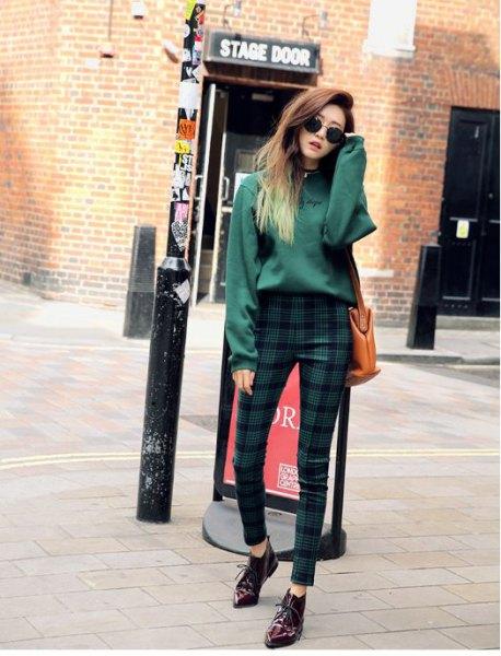 plaid skinny trousers gray chunky sweater