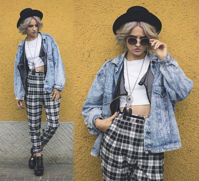 high waist checkered pants white cotton top jacket