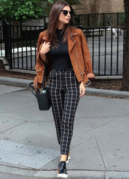 plaid trousers with brown suede jacket