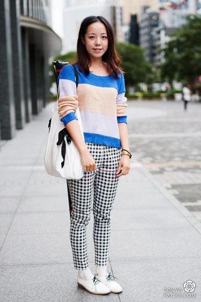 checkered pants color block knitted sweater