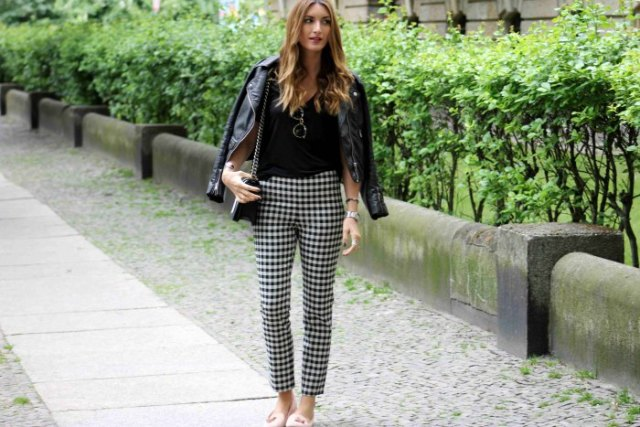 checkered cropped trousers black leather jacket