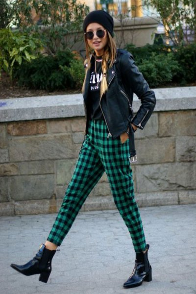 plaid trousers black leather jacket knitted hat