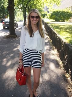 black and white horizontal striped shorts button up shirt