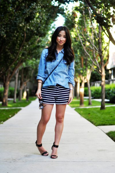 striped shorts blue chambray shirt