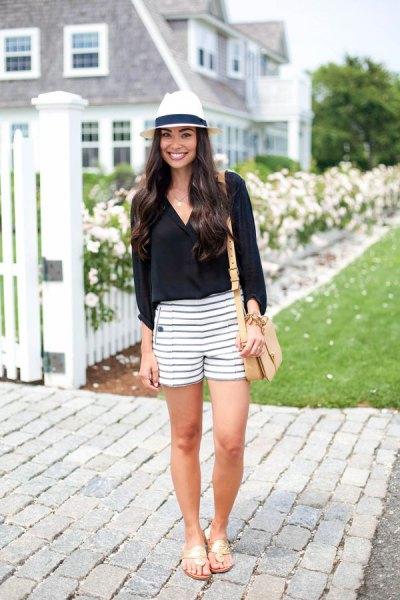 black v-neck blouse with striped shorts felt hat