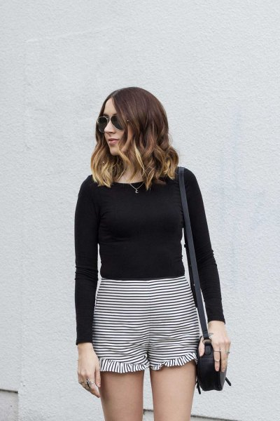 ruffled striped shorts black long sleeve fitted tee