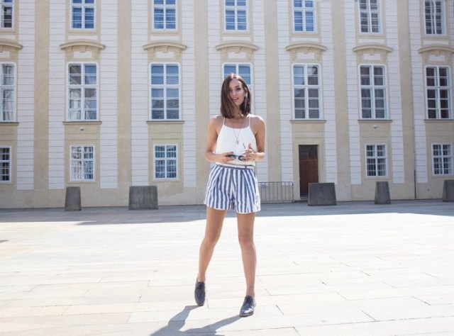 white ugly top blue and white striped shorts