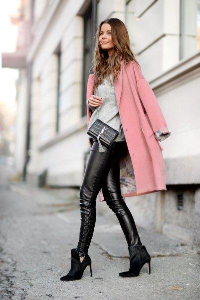 gray long wool coat black leather pants