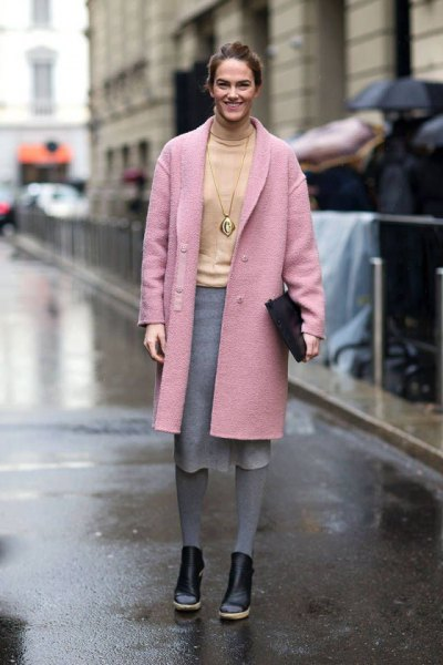 pink wool long jacket with yellow sweater gray midi skirt