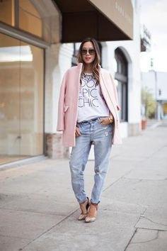 pink wool coat white print tee boyfriend jeans
