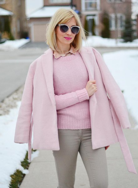 pink wool coat matching fitted knit sweater
