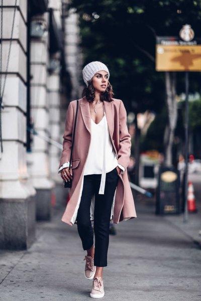 pink wool color white deep v-neck vest top black jeans