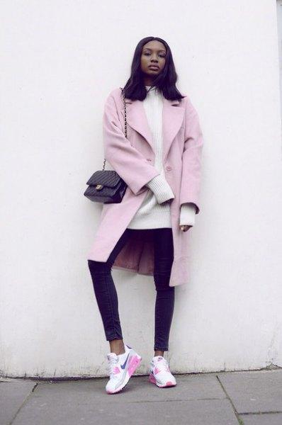 light pink long wool coat white mock neck knit sweater dress