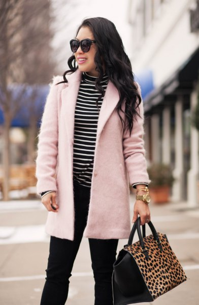 pale pink wool coat black and white striped mock neck T-shirt