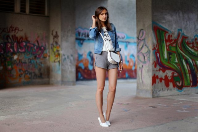 gray joggers shorts denim jacket white heels