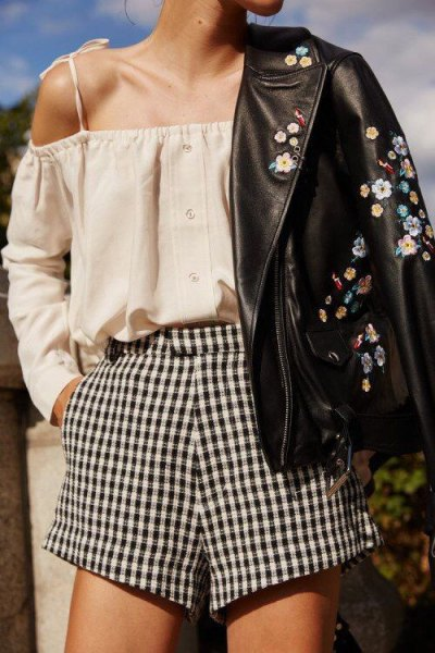 plaid shorts blush pink cold shoulder blouse embroidered leather jacket