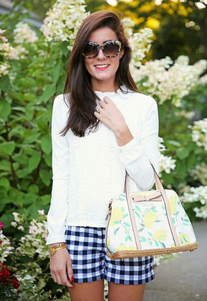 white mock neck blouse checkered shorts