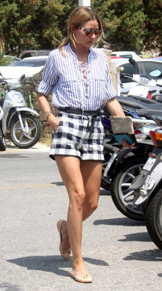 blue and white striped button up shirt plaid shorts
