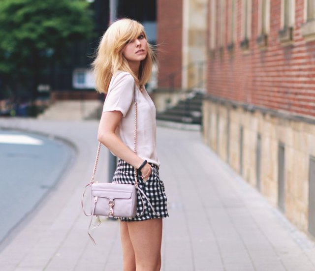 white chiffon t-shirt plaid mini shorts