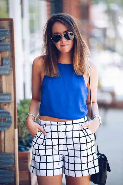 royal blue cropped halter top