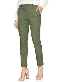 green twill pants white slim fit button up shirt
