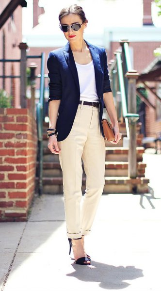 white vest top navy ivory twill pants