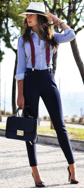 black and white striped shirt braces twill pants
