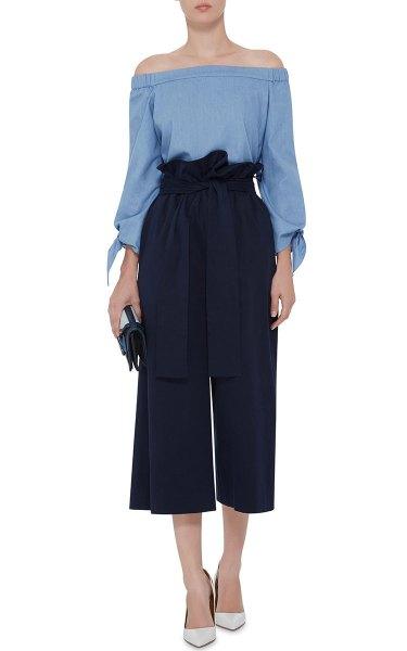 sky blue off shoulder blouse black wide leg cropped twill pants