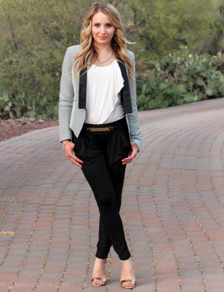 gray blazer black twill skinny pants