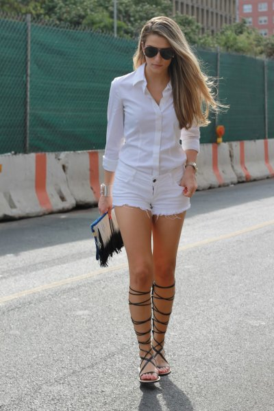 white button up shirt denim shorts striped sandals