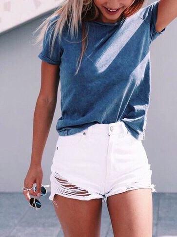 gray t-shirt white ripped mini denim shorts