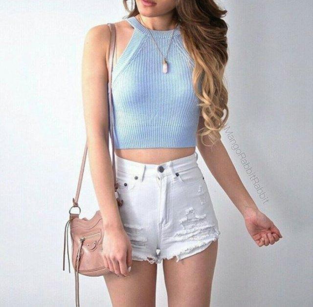 sky blue halter ribbed crop top white denim mini shorts