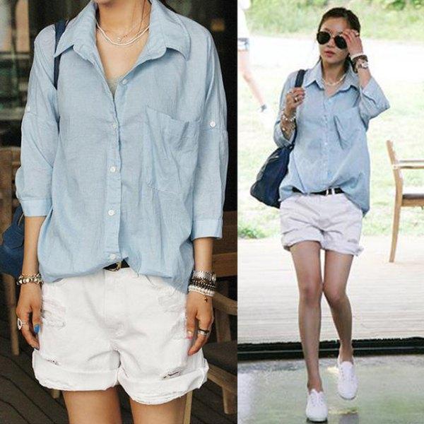 gray blue button up shirt cuffed white denim shorts