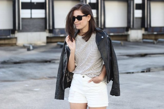 white denim shorts striped tee black leather jacket