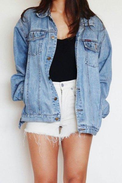white denim lace shorts black top boyfriend denim jacket