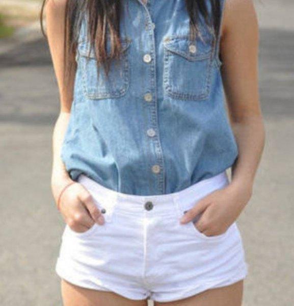 chambray sleeveless button up shirt white mini shorts