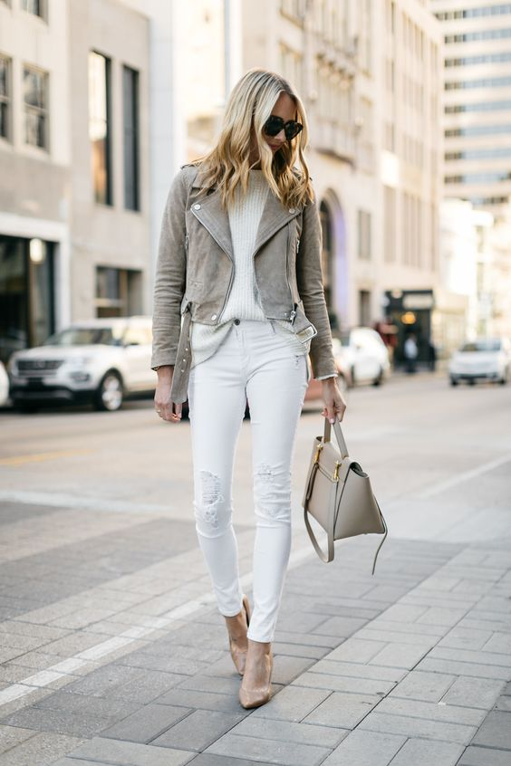 suede moto jacket completely white