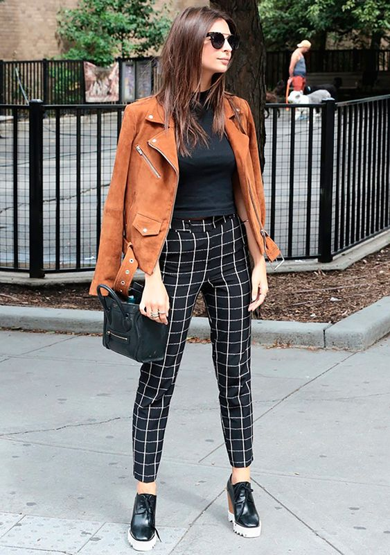 suede moto jacket plaid