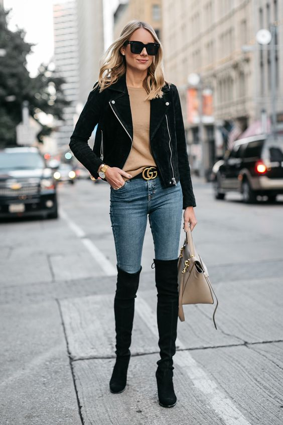 suede moto jacket camel black